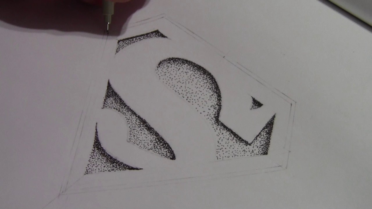 easy stippling superman logo timelapse youtube
