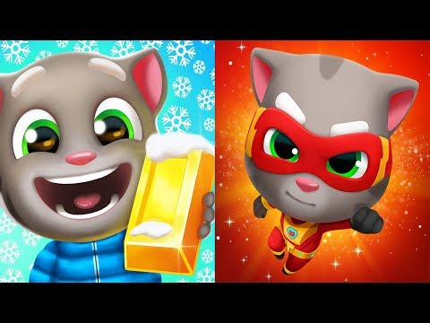 Talking Tom Gold Run Lucky Angela VS Talking Tom Hero Dash