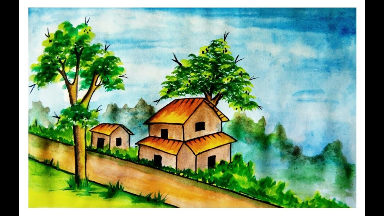 Village Scenery Drawing With Watercolor Very Easy Youtube