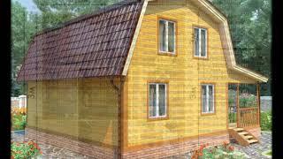 видео Дом из бруса 8x9 с гаражом