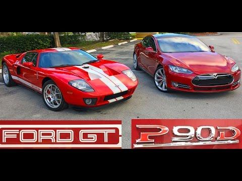 Tesla Model S P90D Ludicrous vs 700+ Horsepower Ford GT Drag Racing