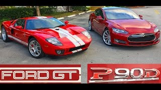 Tesla Model S P90D Ludicrous vs 700+ Horsepower Ford GT Drag Racing