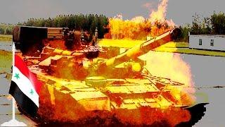 Война в Сирии: бесстрашный повстанец кидает гранату прямо в дуло российского танка