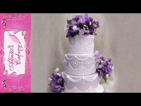 Cornelli Lace Wedding Cake. Royal Icing.