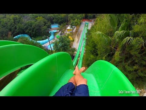Drop Out extreme Body water Slide POV - Free Fall water slide - Raging Waters 2015