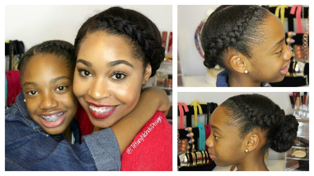 Natural Hair Kid Friendly Hairstyle Goddess Braids And A Bun Youtube