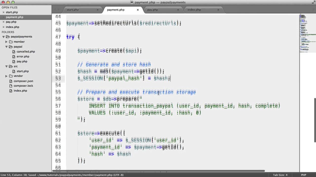 PayPal Payments with PHP: Storing Transactions (8/9)