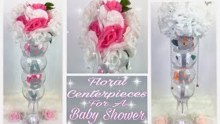 Dollar Tree DIY  / Girl Baby Shower Princess Floral Centerpieces / Bling Decor Vases