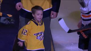 Mike Fisher and Carrie Underwood's 3-year-old son steals show at ceremonial puck drop