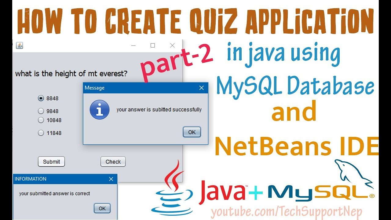 How to Create Quiz Application in Java Using MySQL Database? [Part-2] [With  Source Code]