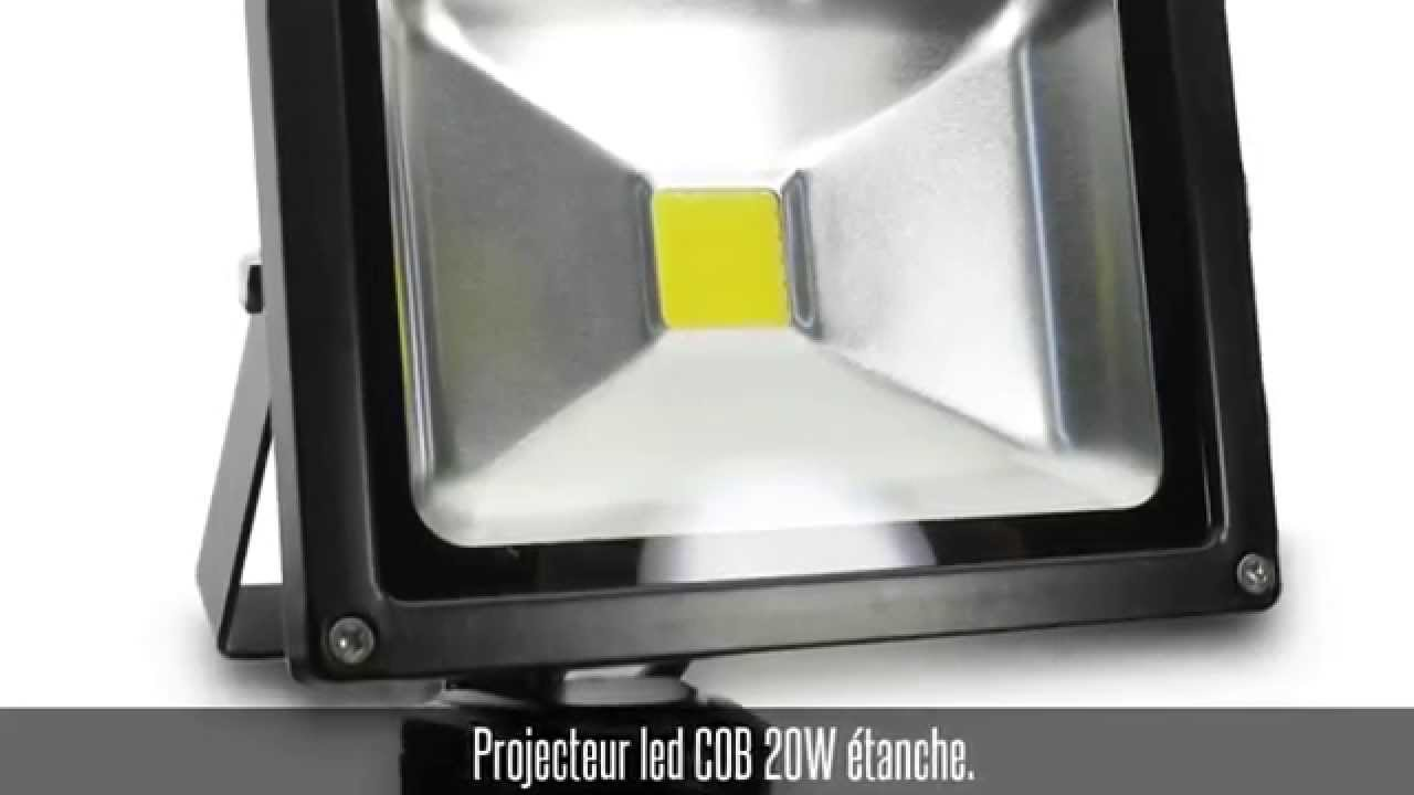 projecteur led cob 20w avec d tecteur de mouvement et c doovi. Black Bedroom Furniture Sets. Home Design Ideas
