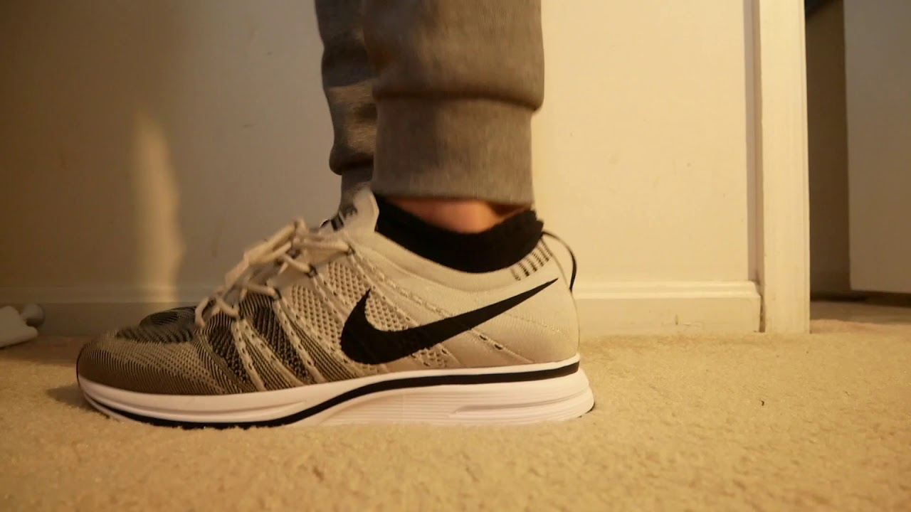 05ad6fa14c56d Nike Flyknit Trainer Pale Grey On Feet - YouTube