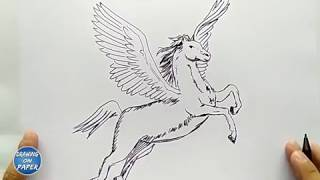 Very Easy!! How to Draw PEGASUS a Cartoon for kids - Drawing doodle art