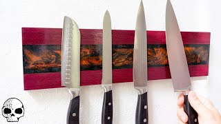 Wall-mounted Magnetic Knife Holder with Epoxy Resin Inlay