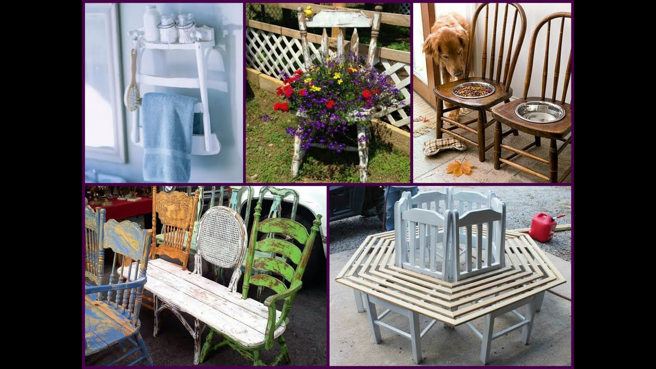 Recycled old chair projects diy ideas youtube for Recycling furniture decorating ideas