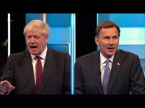 Sparks fly as Tory leadership contenders Boris Johnson and Jeremy Hunt debate their Brexit policies
