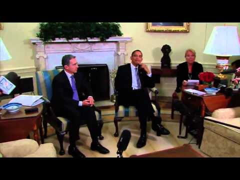President Obama & President Uribe of Colombia Speak to Press
