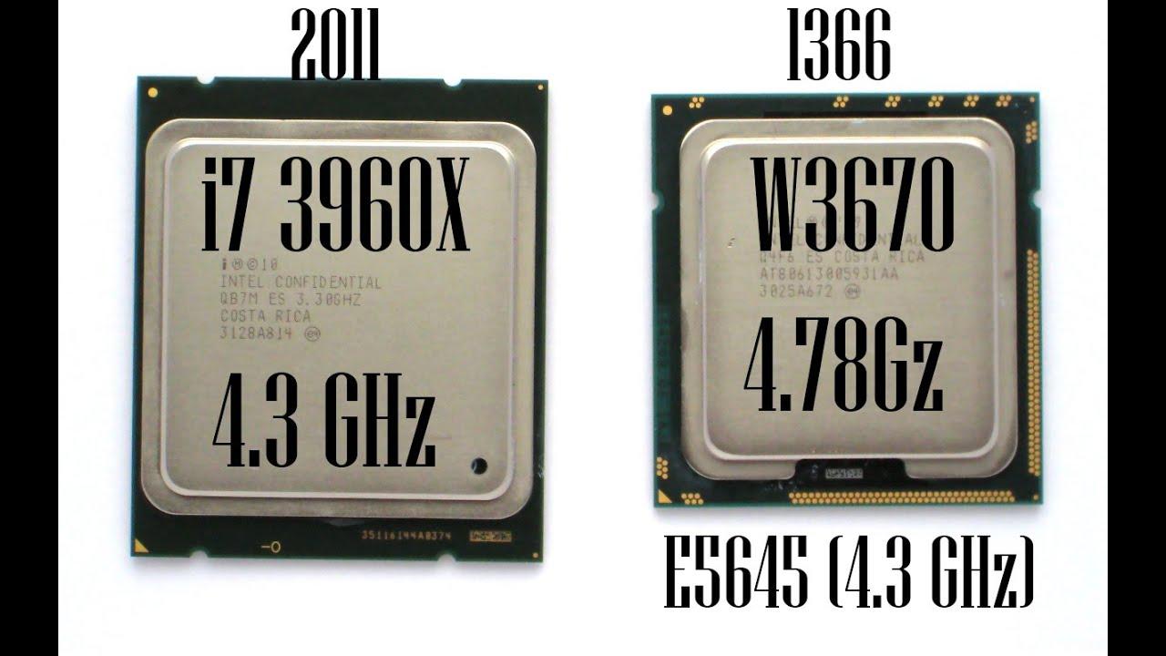 Xeon W3670 (4.78GHz) vs i7 3960X (4.3) vs Xeon E5645 (4.3)