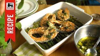 Saumon et asperges grillés, sauce au beurre de sauge
