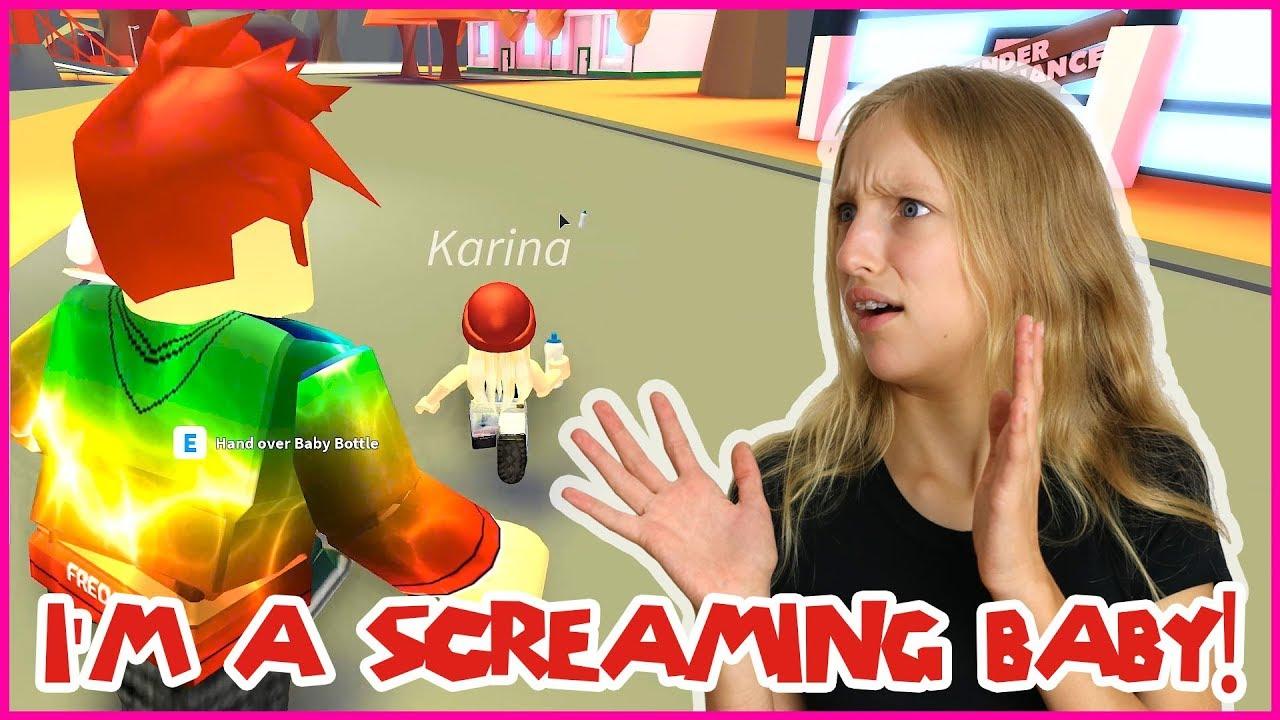 Karina Gamer Girl Roblox Youtube I M A Screaming Baby And Freddy Adopted Me Youtube