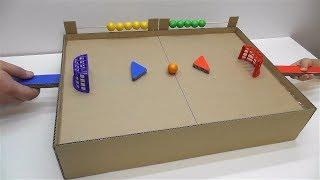как сделать хоккей с мячом с магнитами Настольная игра из картона