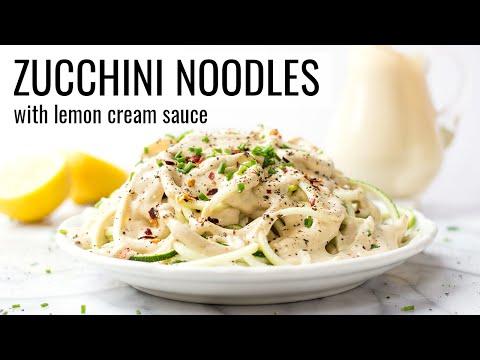 ZUCCHINI NOODLES WITH LEMON CREAM SAUCE   vegan + gluten-free