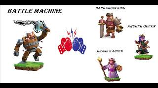 NOT EXPECTED | BATTLE MACHINE VS BARBARIAN KING,ARCHER QUEEN , GRAND WARDEN | CLASH OF CLANS