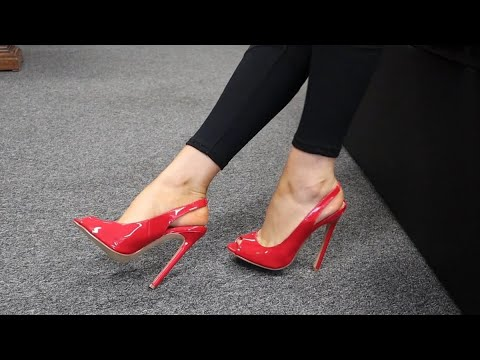 Review Try Out Pleaser Red Single Sole Sling Back Open Toe 5 Inch High Heel Shoes Unboxing By Rose