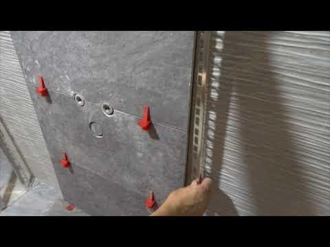 Парящая стена в ванной комнате с LED подсветкой, третья часть.