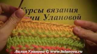 Шарф Полосатик - вязание крючком на вилке - детский шарф