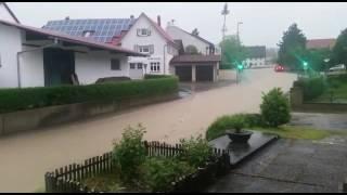 Unwetter Überschwemmung bei Ulm