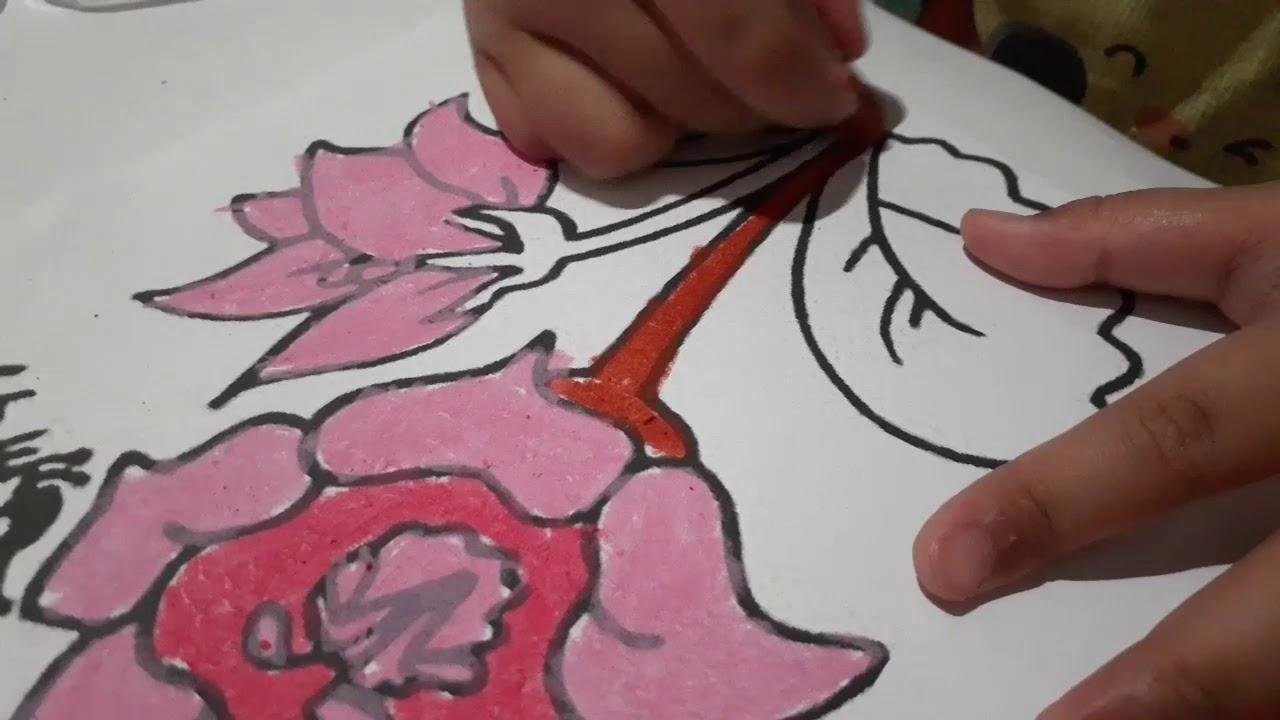mewarnai gambar bunga untuk anak tk
