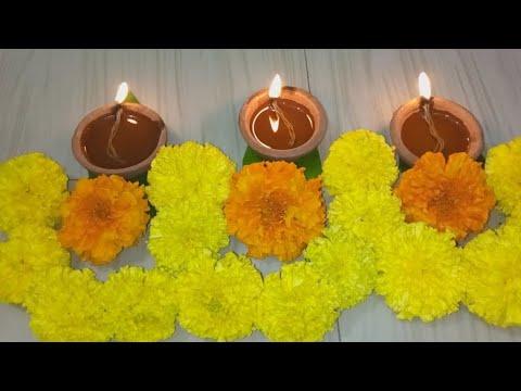 Diwali Flower Diya Thoranam Decoration ideas l Karthikamasam Diya Flower Thoranam Decoration l Dipav