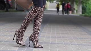 Unboxing boots with leopard print ordered on aliexpress