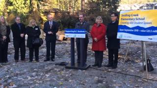 funding announcement for a new sd43 elementary school
