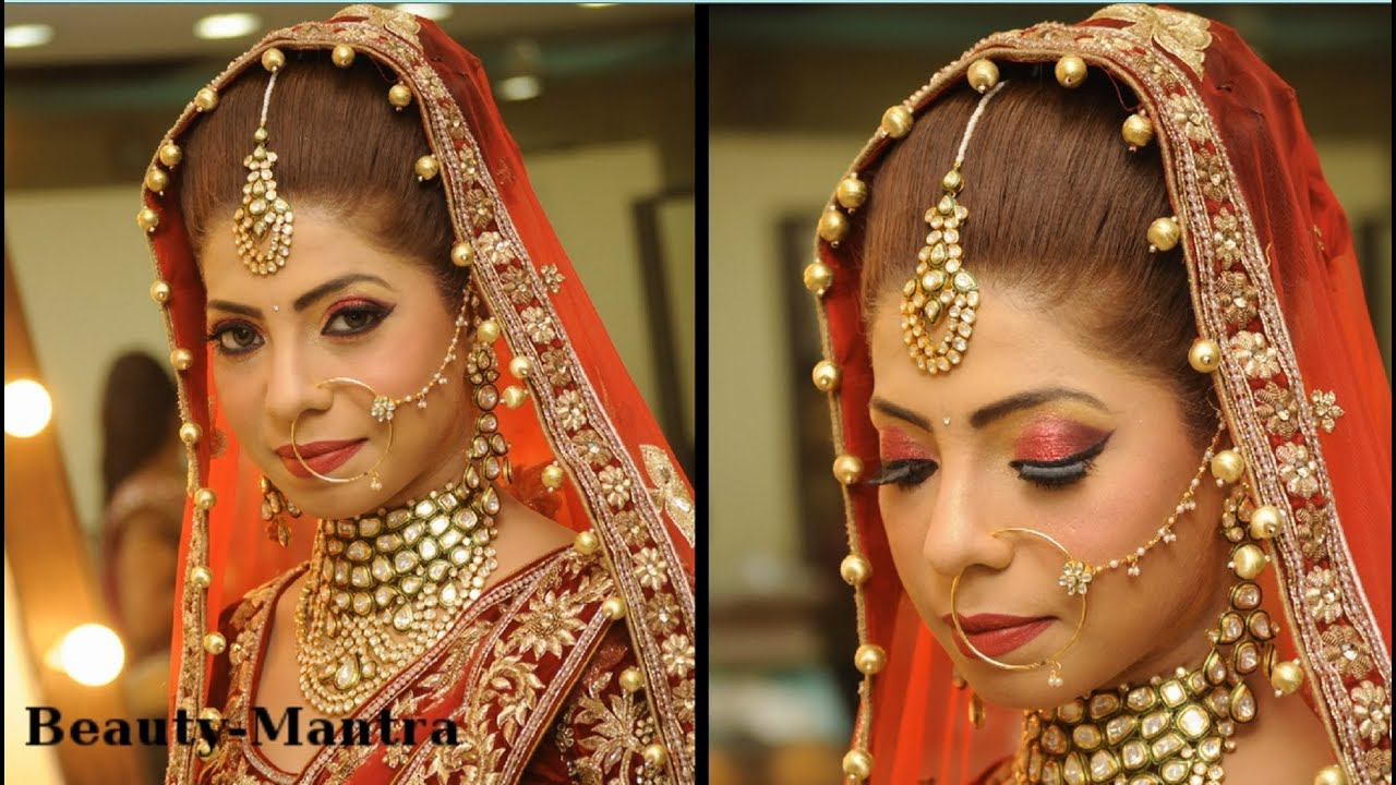 Traditional Wedding Dressup And Makeup : Indian Bridal Makeup - Red And Gold Royal look - Complete ...