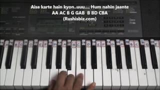 Chalte Chalte yunhi (Piano Tutorials) - Mohabbatein | 1200 Songs BOOK/PDF @399/- only - 7013658813