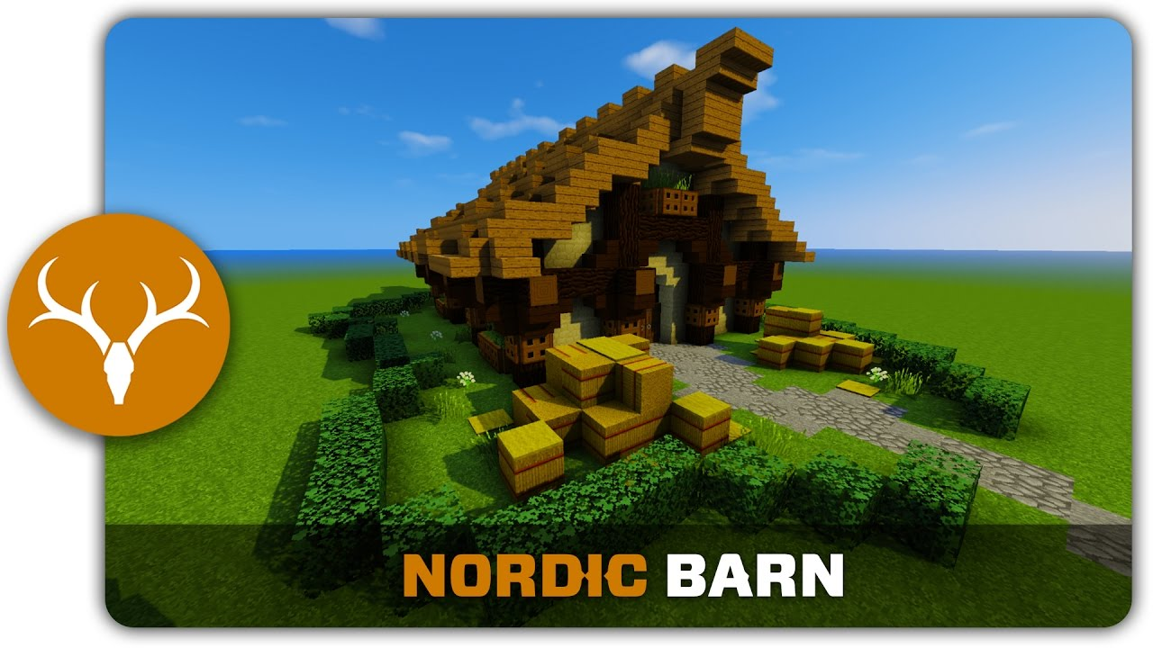 Minecraft Building Tutorial   How To Build A Nordic Barn