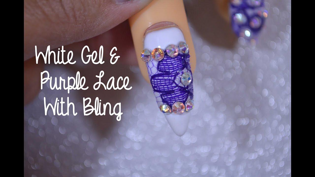Nail Art Tutorial White Gel Purple Lace Sheba Nails Nail Art
