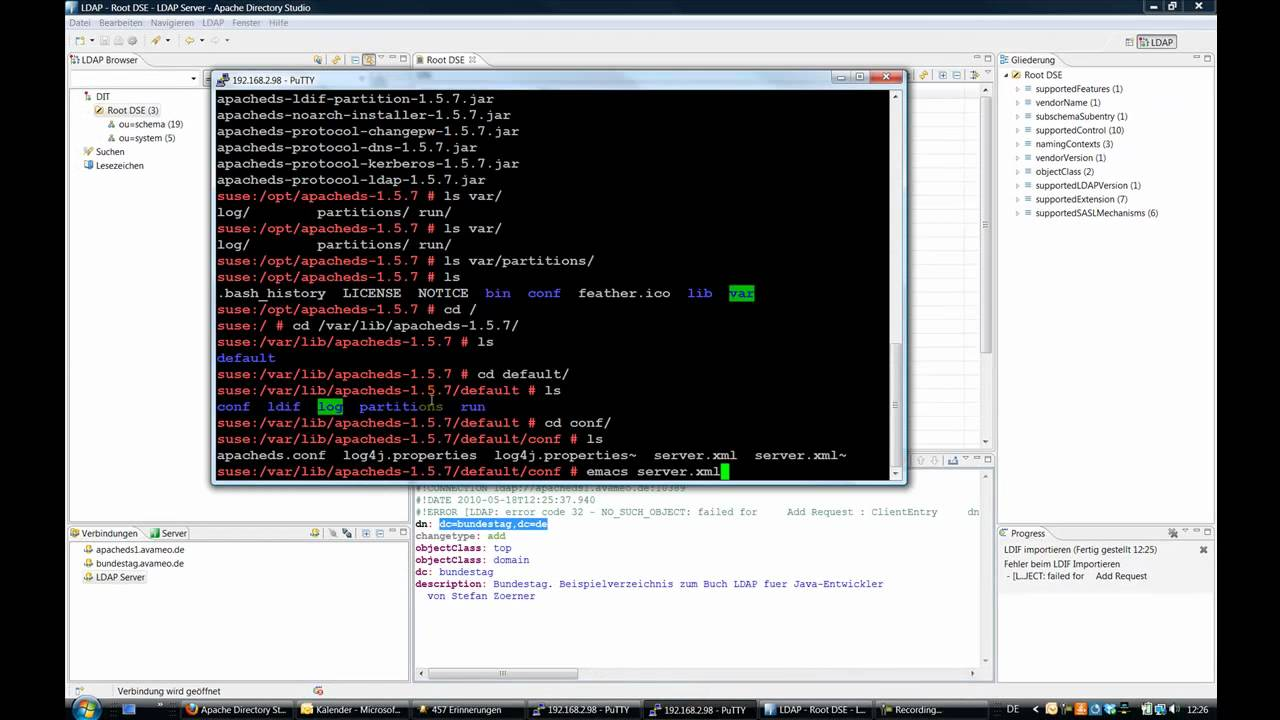 LDAP Tutorial 2 / 3 - ApacheDS, Apache Directory Studio Bundestag, Tomcat