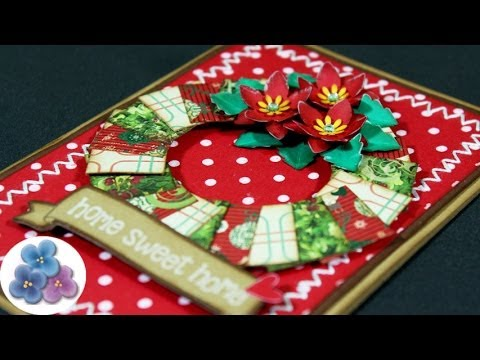 Como hacer tarjetas de navidad flor ponsetia christmas - Manualidades postales navidad ...