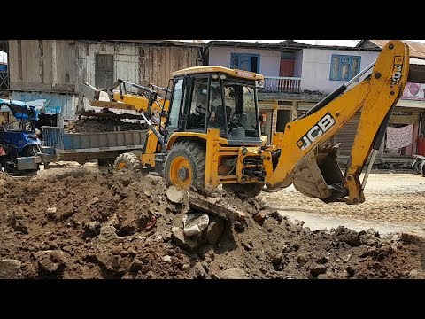 JCB Dozer Collecting Mud and Loading in Tractor - JCB Working For Road Construction - JCB Video