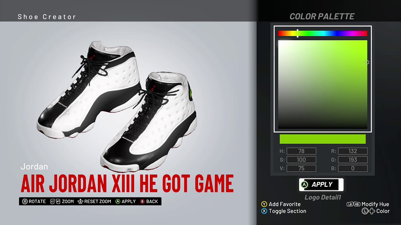 c96e5a58450b NBA 2K19 Shoe Creator - Air Jordan 13