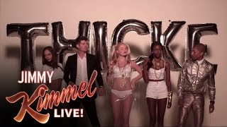 "Download Video Jimmy Kimmel and Guillermo in ""Blurred Lines"" (feat. Robin Thicke and Pharrell) MP3 3GP MP4"