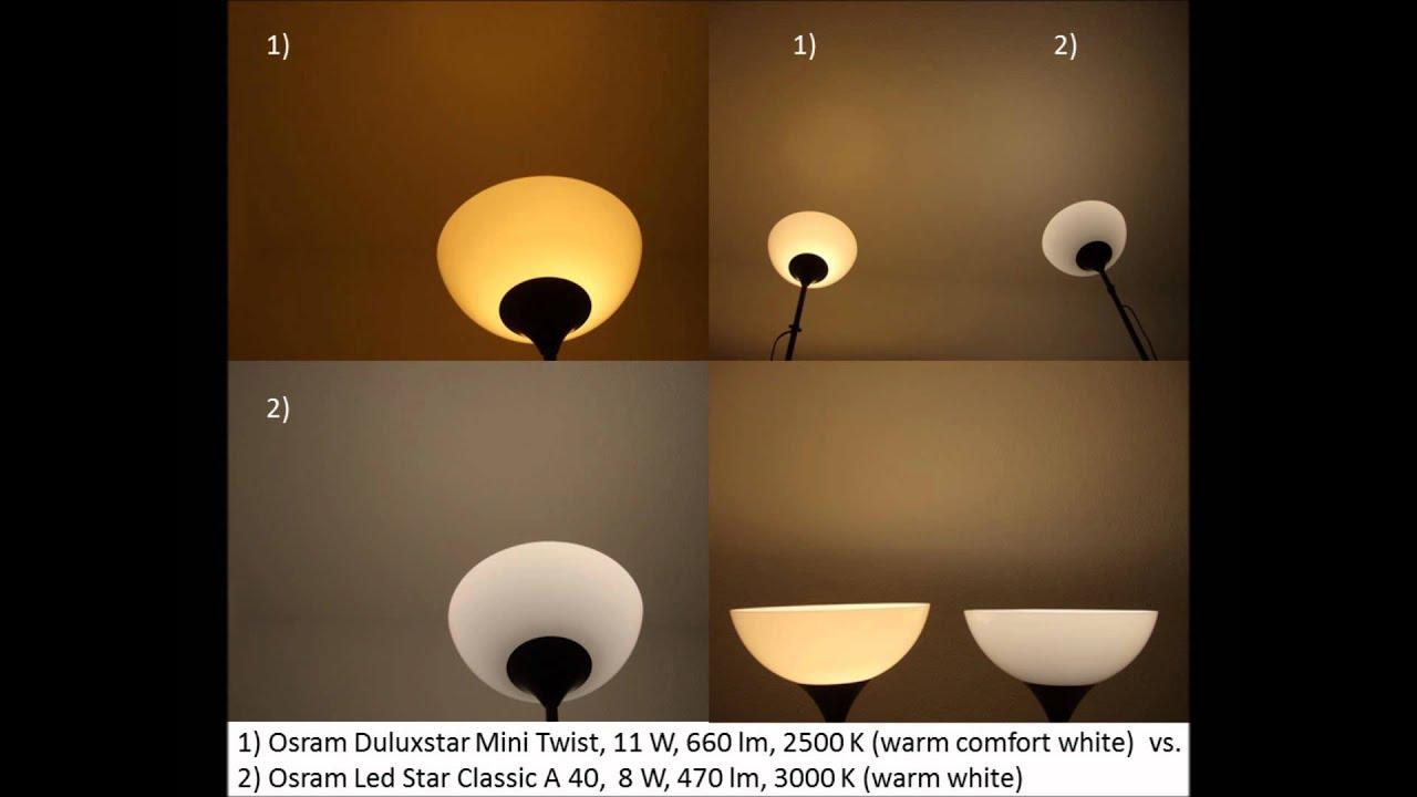 osram duluxstar 2500 k vs led star 3000 k youtube. Black Bedroom Furniture Sets. Home Design Ideas