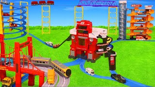 Fire Station, Train, Ambulance, Police Cars, Excavator & Toy Vehicles from Tomica for Kids