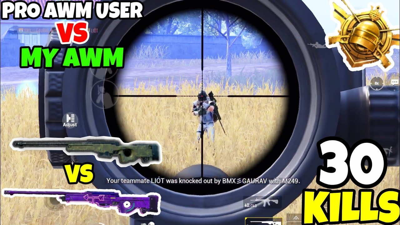 Pro AWM Sniper VS My Level 4 AWM in PUBG Mobile • (30 KILLS) • PUBGM (HINDI)