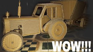 How to make tractor with hydrolics wow, from cardboard