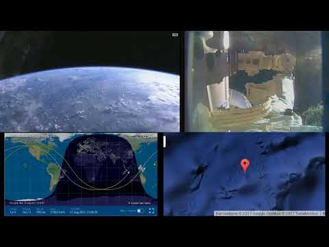 Robotic Arm Starts Work On Dragon CRS-12 - ISS International Space Station Live With 2 Cams - 92
