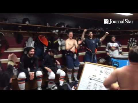 Rivermen post-series celebration after advancing past Macon. Traditional victory dance with fan Adam